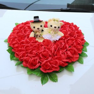 Wholesale Korean Style Wedding Car Simulatin Flowers Wreath with Bear Flower Wedding Car Decoration Accessories Wedding Centerpieces