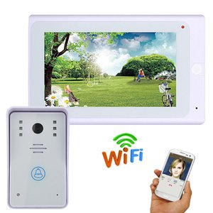 wireless video-türsprechanlage telefon großhandel-7 Zoll P Video Türsprechanlage Türklingel Kit Video Intercom System mit APP Fernbedienung Wired Wireless Wifi IP Connect