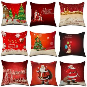 Wholesale Christmas Decoration Merry Christmas Letters Square Linen Kerst Pillow case Santa Elk Bell Pillow Cover for Home Sofa Xmas Decor