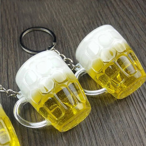 Creative 1 Pc Women Resin Gift Unisex Keychain Unique Crafts Cool Mini Simulation Beer Cup Pendant Keyring Handicraft Jewelry