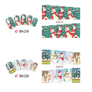 Wholesale 1pc Pattern Nail Sticker Water Decal Slider Socks Moon Snow Man Gift DIY Nail Sticker for Merry Xmas Christmas Santa Clause