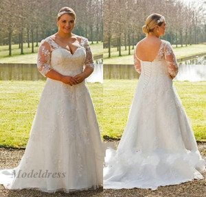 Wholesale Plus Size Wedding Dresses for Women Lace up Back Long Sleeves V Neck A Line Lace Appliques Gorgeous Country Wedding Gowns