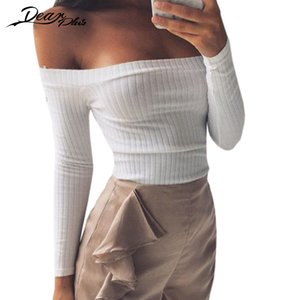 Spandex Sexy Slash Neck Long Sleeve Knit Crop Top Women Off The Shoulder Sheath Stretch Slim Shirts Tops Autumn Winter Tees on Sale