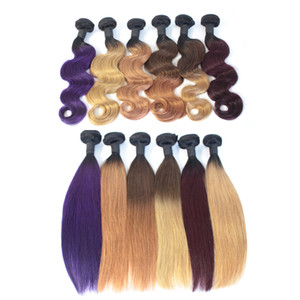 Ombre Virgin Hair Bundles Brazilian Body Wave Human Hair Weave Two Tone Weft 1B Brown Bloned Red Blue Purple Peruvian Cheap Ombre Hair