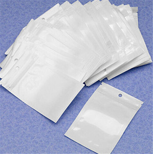 Clear White Pearl Plastic Poly Bags Zipper OPP Packing Package Bags PVC Retail Boxes Hand Hole for USB cables Phone case