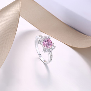 Wholesale Beautiful Princess Fashion Silver Ring Simulation Pink Diamond Ring Jewelry Bride Wedding Rings Man Woman Engagement Love Ring