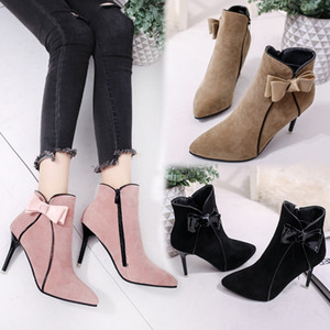 Wholesale women Autumn and winter new Martin boots Europe the United States pointed high heels Dress Shoes wild bow sexy wild scrub boots