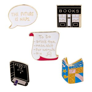 Wholesale 2018 Cute Enamel books Brooches women Men bookstore Reel creative Cartoon Pins badge For children Fashion Jewelry Gift