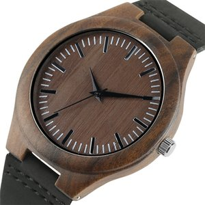 Men Watches sandalwood Bamboo Simple Design Wrist Watch Men Coffee Green Color Dial Genuine Leather Band Male Clock Gifts 2018