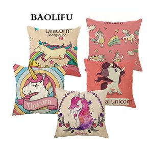 Wholesale Cartoon Unicorn Animal Cushion Cover Printing Linen Decorative Pillow Case Chair Seat Square Pillow Cover Home A141