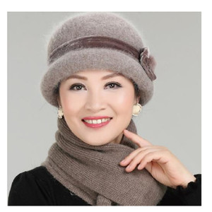 Wholesale New Fashion Women Winter Hat Sets Floral Skullies Wool Mixed Rabbit Fur Warm Outdoor Knitted Beanies Baggy Headwear Cap