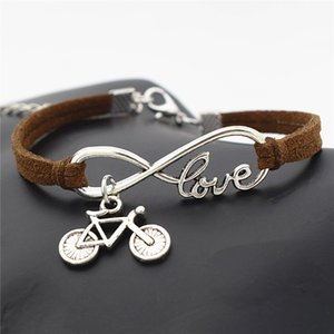 Wholesale Punk Dark Brown Leather Charm Bracelet Simple Infinity Love Bicycle Pendant Metal Chain Bangles Bohemian Retro Women Men Jewelry Accessories