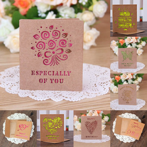 Wholesale Kraft Paper For Valentine And Mother Day Greeting Cards Blessing Card Laser Cut Wedding Invitation Decorations Many Designs bl C RZ