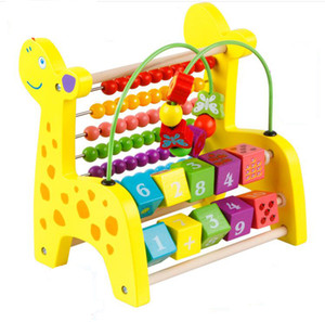 Wholesale wooden toys bead maze resale online - Baby Toys Wooden Eeducational Toy Animal Beads Maze of Calculation Baby Early Learning Math Toys Giraffe Elephant Lion Horse Kids Gift
