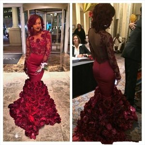Wholesale African Women Burgundy Long Prom Dresses Backless Mermaid Rose Floral Ruffles Evening Dress Sheer Lace Appliques Long Sleeve Party Gowns