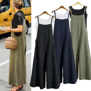 Long Wide Leg Jumpsuit Casual Cotton Linen Pockets Strappy Dungaree Bib Overalls Autumn 2018 Women S-5XL