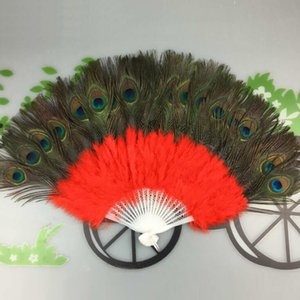 Wholesale New Arrival Belly Dance Feather Peacock Fan nice Stage performance Props Fan Veils color available