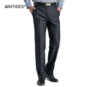 Wholesale QINTIDES blazer dress Professional business mens dress pants men fashion easy care loose Stretch straighsuit pants