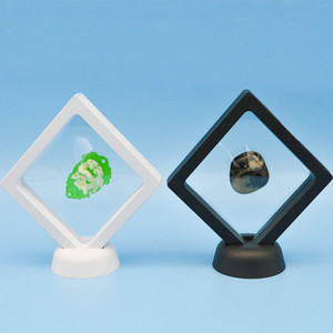 Wholesale Suspended Floating Display Case Jewelry Coins Gems Art Stand Holder Box With Plastic Base Stand Xmas Party Home Decor Black White WX9
