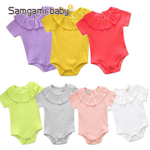 Wholesale yellow baby lace romper resale online - Summer New Baby Girls Rompers Cotton Solid Color Short Sleeved Fungus Lace Collar One Romper Cute Newborn Baby Girls Kids Clothing