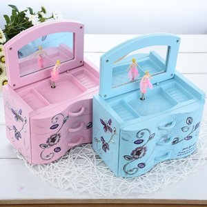 Wholesale Music Boxes Rectangle Swivel Piano Musical Box Ornaments Heart shape Rotating Ballerina Girl Cool Home Decoration Accessories