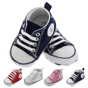 Wholesale 4 color New Canvas baby Sport shoes Newborn Boys Girls First Walkers Infant Toddler Soft Bottom Anti slip Prewalker Sneakers M