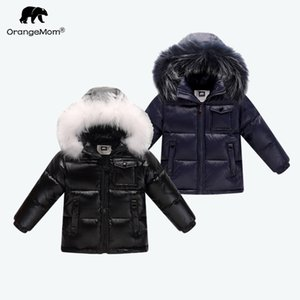 Wholesale 2018 winter down jacket parka for girls boys coats , 90% down jackets children's clothing for snow wear kids outerwear & coats