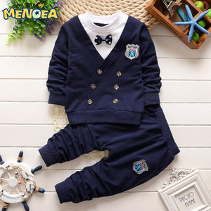 Wholesale baby boy clothes Autumn Casual style baby clothing sets bow handsome lapel short sleeved track suit children