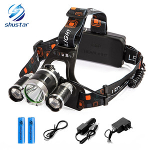 Shustar Rechargeable Headlight 13000Lm T6 3Led HeadLamp head light Fishing Lamp Hunting Lantern +2x 18650 battery +Car AC USB Charger