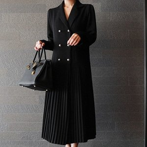 Wholesale SHENGPALAE Autumn Korean New Black Double Breasted Pleated Full Sleeve V Collar Loose Fashion Mid calf Dress Women OA504
