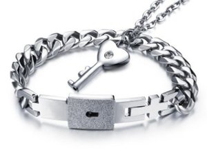 Europe American new arrival fashion jewelry men women love locks Titanium key bracelet party Christmas festival love gift