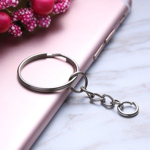 Wholesale 10 pack Polished Silver Keyring Keychain Short Chain Split Ring Key Rings Jewelry DIY mm Key Chains Accessories