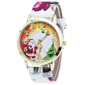Christmas Gift Lady Glass Mirror Watch Santa Pattern Printing Leather Strap Watches Elegant Minimalism Rhinestone Casual A40