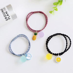 Wholesale Summer Small Fresh Jelly Color Fruits Hair Rope Round Ball Hair Circle Korea Korean Headrope Elastic Hair Decorate Woman
