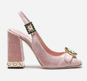 Pink Velvet Glitter Silver Elegant Luxury Women Party Shoes Pearl Block Heel Sandals Round Toe Crystal Buckle Sling-back Pumps