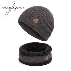 Maylisacc Solid Autumn Winter Warm Knitted Hat With Scarf Ring Fashionable for Men Outdoor Sport Scarves with Hat Set on Sale