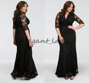 Wholesale Screen Siren V Neck Lace Plus Size Mother of The Bride Groom Dresses Black Full lace Half Sleeve Mermaid Occasion Evening Wear Gown