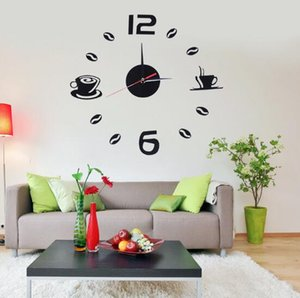 Wholesale Creative Black D DIY Frameless Acrylic Digita Wall Clock Stickers Wall Decoration for Living Room Bedroom Art Restaurant Home Office School