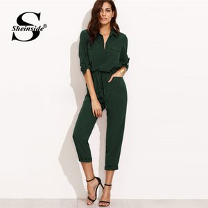 Wholesale Sheinside Green Autumn Jumpsuit Woman Clothes Jumpsuits For Women Overalls Tie Waist Rolled Sleeve Equipment Jumpsuit