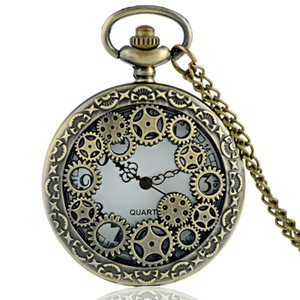 Wholesale Classic Vintage Bronze Steampunk Gear Quartz Pocket Watch Vintage Men Women Punk Skeleton Necklace Pendant Jewelry Gifts