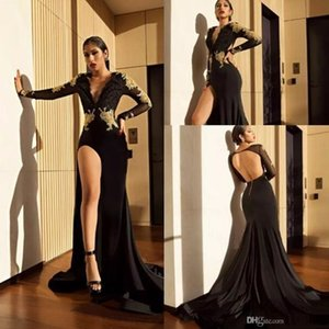 Sexy Deep V Neck Black High Slit Prom Party Dresses 2019 Gold Lace Appliques Mermaid Sheer Long Sleeves Deep Open Back Evening Gowns on Sale