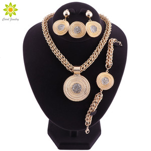 Big Jewelry Sets For Women Wedding African Beads Jewelry Set Crystal Pendant Necklace Earrings Indian Ethiopian Jewellery