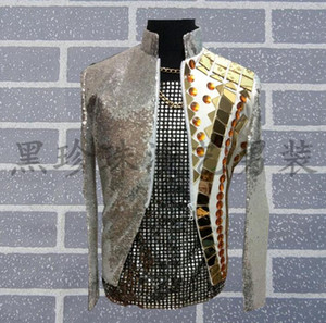 Wholesale Grey Red Men Suits Designs Masculino Homme Terno Stage Costumes For Singers Men Sequin Blazer Dance Clothes Jacket Style Dress