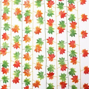 Wholesale 2 m long artifical maple leaves rattan fake leaf ivy wedding party decoration craft art home wall hanging vine fake foliage leaves