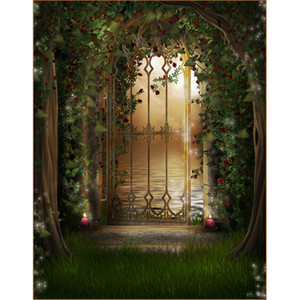 Wholesale children gates resale online - Arched Iron Gate Fairy Tale Forest Backdrop Photography Printed Red Roses Green Vines Moonlight River Kids Children Photo Studio Backgrounds