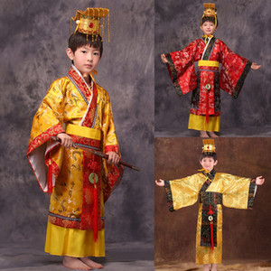 Wholesale child chinese traditional hanfu dress men boys emperor king Stage red Clothing children costumes tang suit kids robe hat sets