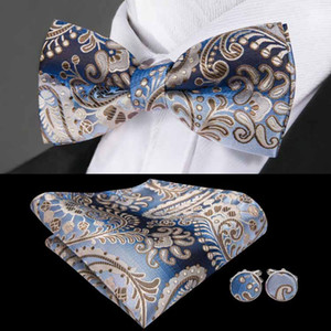 Wholesale Blue and White Paisley Jacquard Woven Silk Bow Tie standard New Collection Wedding Dress High Quality LH