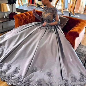 ingrosso quinceanera grigio-2018 Modest Grey Quinceanera Masquerade Ball Gown Jewel illusione manica lunga arabo sera di promenade di Sweet Dress anni
