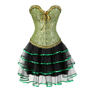 gothic burlesque corset and skirt set plus size halloween costumes victorian corset dresses party floral fashion sexy green 6xl