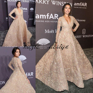 Wholesale Champagne Red Carpet prom Dresses with long sleeve Modest Ashi Studio Kaftan Dubai Arabic Lace Applique Occasion Evening Wear Dress